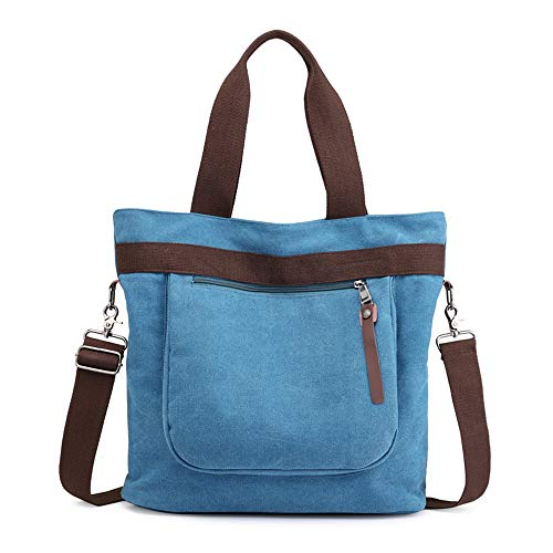 Canvas bag, shoulder bag, handbag, outdoor, large capacity, blue, C0253