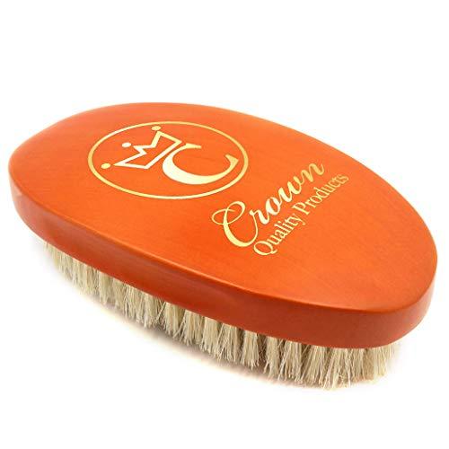 "Crown Quality Products- 360 Gold Caesar Brush – Cognac – Extra-Soft ""Silk"" Bristle"