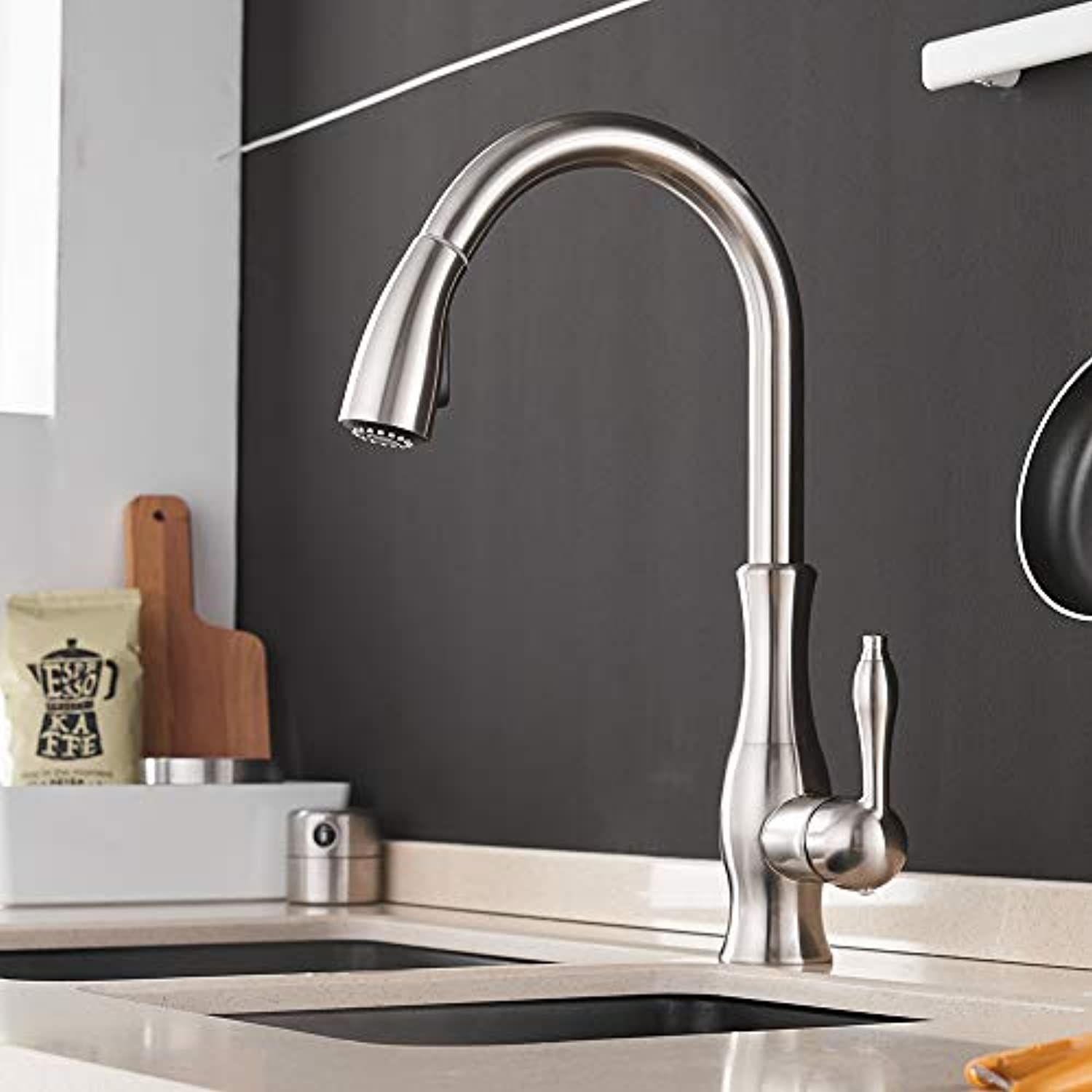 Küchen-Wasserhahn Küchenfauben Single Handle Pull Out Kitchen Tap Single Hole Handle Swivel 360 Grad Wassermischer Tap Nichel brushed