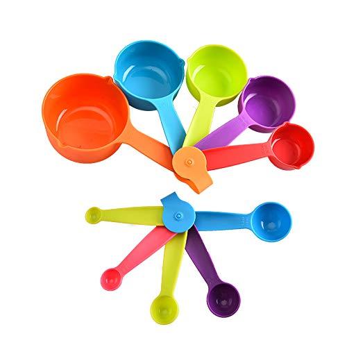 10-teiliges Messbecher und Messlöffel Set Plastik Messlöffel Cup Messbecher Kunststoff Messlöffel Multifunktions für Küche Kochen Backen, Spülmaschinenfest
