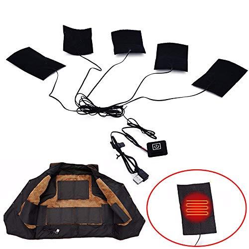 Konesky Almohadilla térmica para la ropa Almohadillas térmicas para ropa Almohadillas térmicas flexibles 5 en 1 a prueba de agua (alimentado por USB)