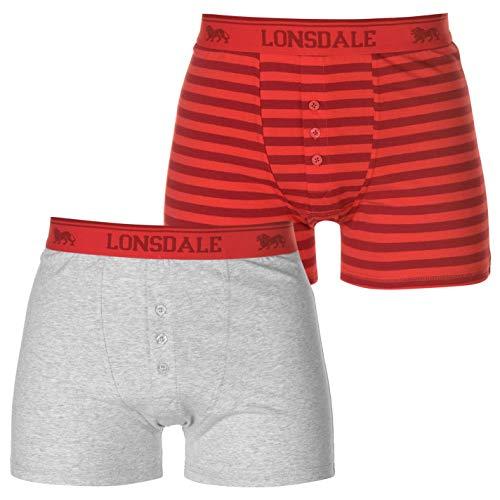 Lonsdale - Calzoncillos para hombre (2 unidades) Gris/Blackstrp. XL