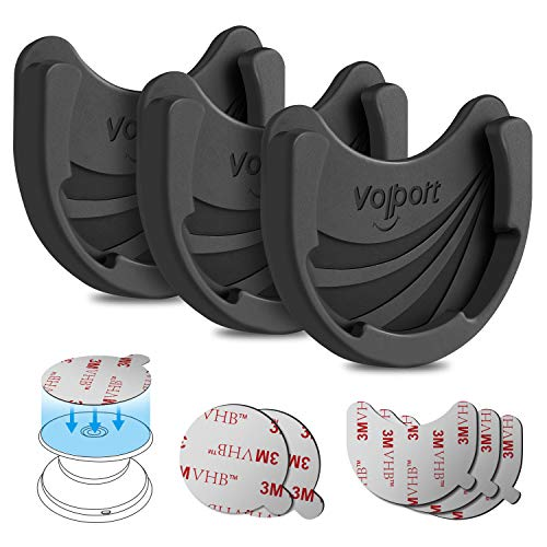 Soporte de coche para teléfono móvil desplegable y enchufe, paquete de 3 soportes de silicona para agarre plegable y soporte con adhesivo 3M VHB cinta de repuesto para salpicadero, pared, espejo, etc.