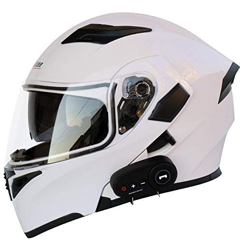 YGXS Motorcycle Bluetooth Helmet, Anti-Fog Double-Sided Mirror Full Face Helmet Bluetooth Integrated Design with FM Anti-Fog Double Lens 3000 Mah Battery Four Seasons,B,L