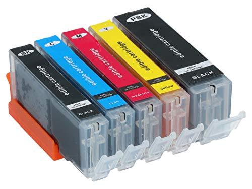 Lebensmitteltinte Patronen 5er Set mit essbarer Lebensmittel-Farbe (PGI-570, CLI-571Bk/C/M/Y) MG 5700, MG6800, MG7700, TS5000, TS6000, TS9000 Serien