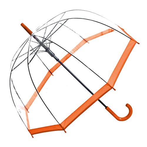 Regenschirm Transparent Durchsichtig Glockenschirm Automatik oranger Rand