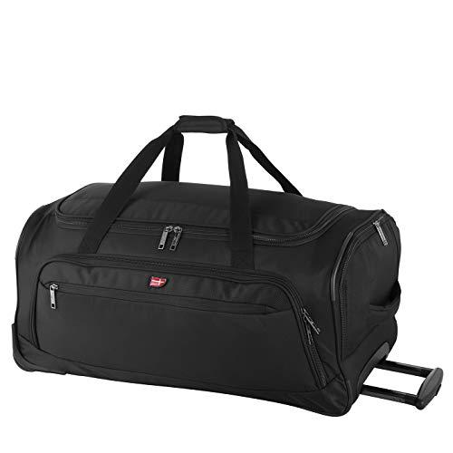 Von Cronshagen Reisetasche mit Rollen Malthe 78 Liter | Rollentasche mit Trolleyfunktion | für Urlaub Damen und Herren (schwarz)
