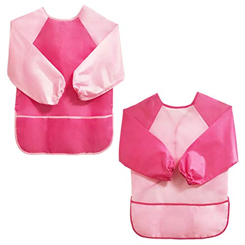 Crethin Kids Painting Aprons, Art Smocks for Child, Toddler Artist Aprons, 3 Pockets, Long Sleeves - Pink M