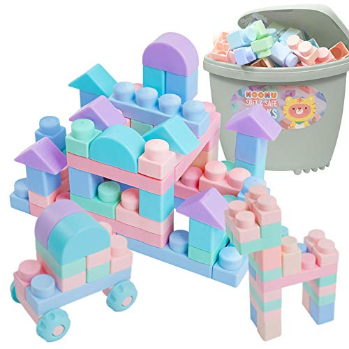MOOMU - Soft Building Blocks, Great Toy for Teething Toddlers, Non-Toxic Rubber, Waterproof, Safe & Quiet, 120 Pieces with Storage Chair - Blue Gray