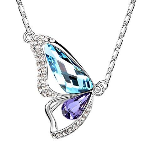 Angel for Angel. Swarovski-kristallen in donkerpaars, vlinder, halsketting, sieraad met ketting van 45 cm.