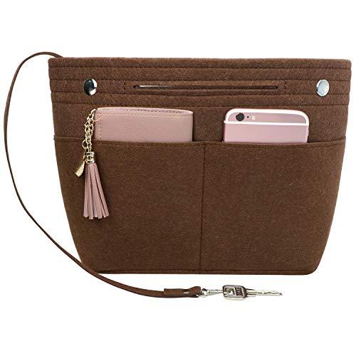Joqixon Taschenorganizer Filz, Handtaschen Organizer Bag in Bag, Innentaschen für Handtaschen mit Griffen und Schlüsselkette, Taschen Organizer