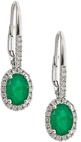 Gin and Grace14K White Gold Zambian ご予約品 wit Natural Earrings 送料無料 Emerald