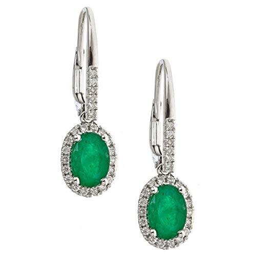 Gin & Grace 14K White Diamond Natural Oro (I1, I2) y cuelgan el pendiente esmeralda natural para las mujeres