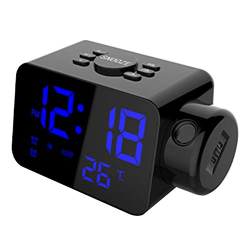 Cobeky Reloj despertador digital para dormitorio, proyector de reloj, cargador USB, timbre ajustable, 12/24 h, alarma doble fuerte, azul digital