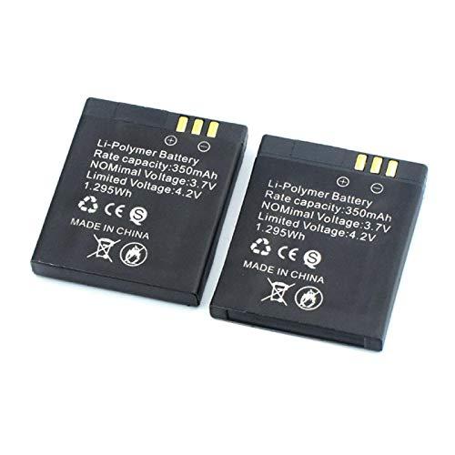 RitzyRose Batería de litio de 3,7 V, 350 mAh, GT 08, recargable, para reloj inteligente, 2 unidades