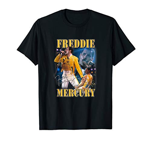 Licensed Freddie Mercury Wearing Iconic Yellow and White Wembley Outfit 1986 T-shirt for Adults, Kids, up to 3XL