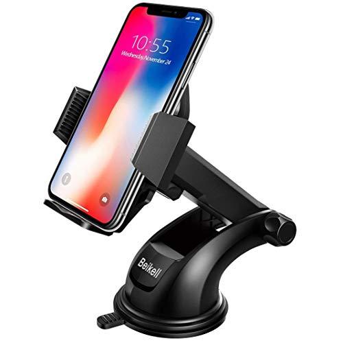 Beikell Supporto Auto Smartphone, Supporto per Telefono per Auto [360 Gradi di Rotazione] con Cruscotto Regolabile e Supporto per Braccio Estensibile per Auto Forte Rilievo in Gel Appiccicoso