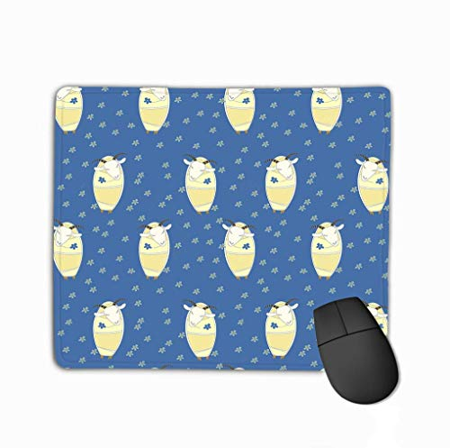 Mouse Pad Seamless Pattern Nice Goats Eyes Closed Flowers Prints Rectangle Rubber Mousepad 11.81 X 9.84 Inch