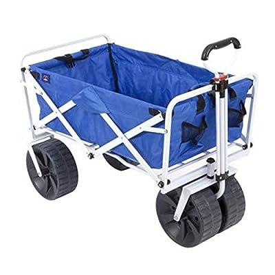 Mac Sports Heavy Duty Collapsible Folding All Terrain Utility Beach Wagon Cart, Blue/White by Mac Sports