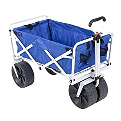 commercial Mac Sports Rugged Folding Universal Beach Cart, Blue / White wagon with big wheels
