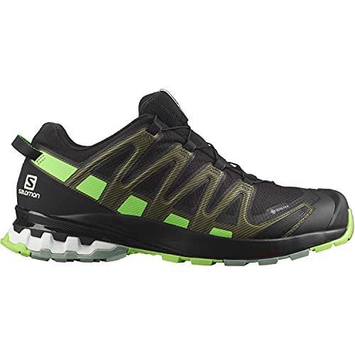 Salomon XA Pro 3D V8 Gore-Tex (impermeable) Hombre Zapatos de trail running, Negro (Black/Green Gecko/Green Milieu), 40 2/3 EU