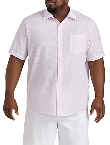 DXL 빅과 키 큰 세서커 미니 깅햄 스포츠 셔츠 핑크