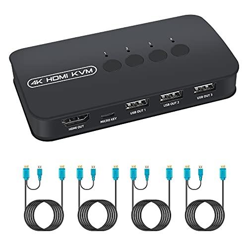 HDMI KVM Switch, Conmutador KVM USB 2.0 para 4 PCs Compartir 1 Monitor y 3 Dispositivos USB, Teclado, Ratón, Impresoras, Escáneres