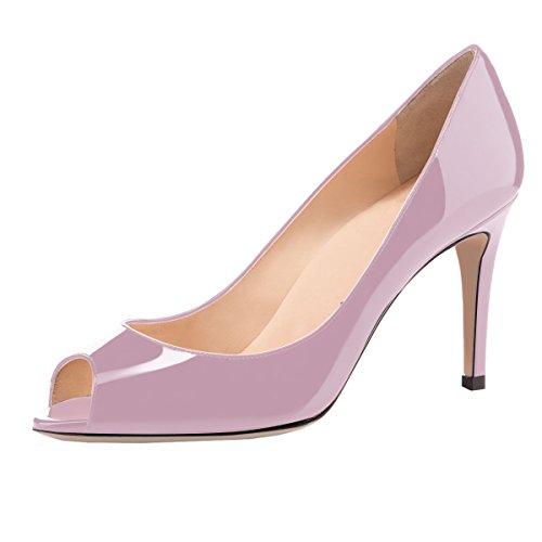 elashe Damen Peeptoe Pumps | 8cm Stiletto High Heel | Bequeme Lack Stilettos Lavendel EU38