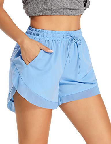 ALONG FIT 2 in 1 Shorts Damen Baumwolle Laufhose mit Taschen Schnelltrocknende Laufshorts Kurze Sporthose Jogging Bike Yoga Tennis Fitness Boxing Home Shorts Sommer Blau M