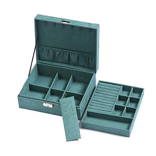 LXQLLJJD Caja de Almacenamiento de joyería de Tela de Felpa, 2 Capas con Ornamentos de Bloqueo Organizador de Caja para Pendientes, Anillos, Collares, Pulseras