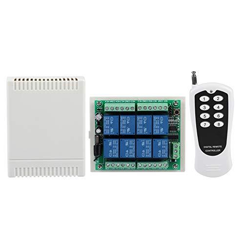 Drahtlose 12-V-DC-Fernbedienung 433 MHz kabelloser 8-Kanal-100-M-Abdeckungsempfänger mit Sender für Licht, Wasserpumpe, Heizung, Garagentor-Toröffner