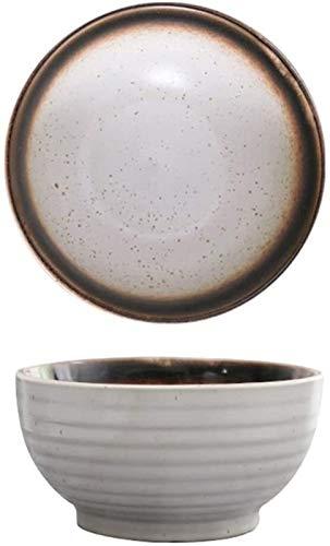 XUEXIU Céramique Bowl Haut Bowl Bowl Creative Noir Bowl Art De La Table des Ménages De Grande Taille Japonaise Bowl Commercial Bowl for Family Wedding Gifts (Color : White, Size : 17.5 * 9CM)