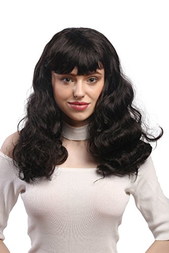 WIG ME UP - 90942-ZA 1 Perruque Femmes Halloween Carnaval, Poney, Noir, ondulé, Long Burlesque Pin-Up 1950