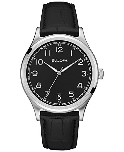 Bulova Classic Vintage 96B233 - Reloj de Pulsera de Diseño para Hombre - Correa de Cuero - Negro