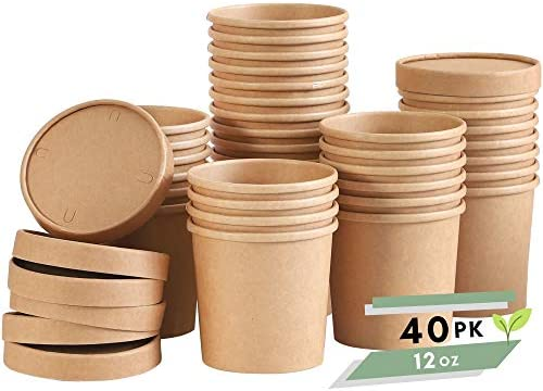 Soup Containers To Go Microwaveable 40 Pack 12 oz Disposable Soup Bowls with Lids Disposable product image
