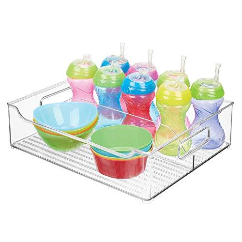 mDesign Kinderzimmer Organizer – große Sortierbox mit praktischen Griffen, ohne Deckel – BPA-freier Kunststoffbehälter mit 2 Fächern für Spielzeug, Windeln, Stofftiere & Co. – durchsichtig