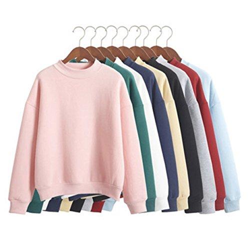 KRASATA Tumblr Damen Sweatshirt Pullover Pastell Bunte Farben (XS, Pinkish)