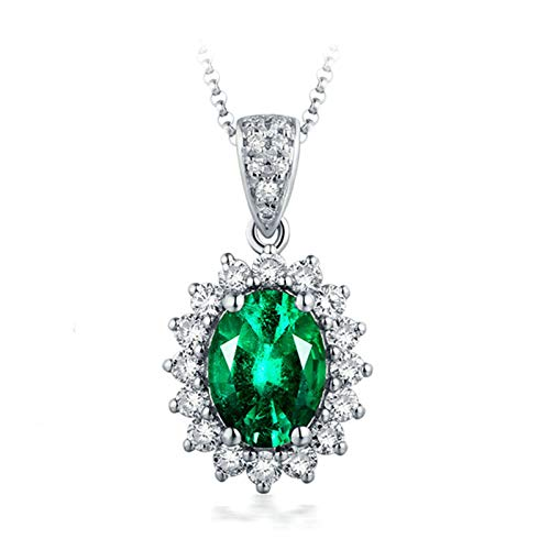 ButiRest Real Gold Jewellery Women's Green Tourmaline Oval Cut with Diamond 18 Carat 750 Gold Pendant Flower Pendant with Chain White-0.75ct