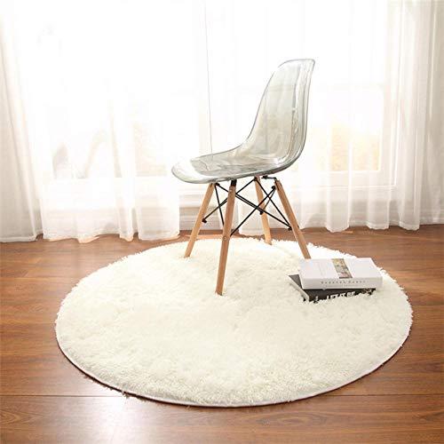 LAMEDER Home Tappeto di Design,Tappeto da Yoga per Fitness Moderno, Peluche, Spesso, Rotondo, soffice, Antiscivolo, Beige Opaco, 120 × 120 cm