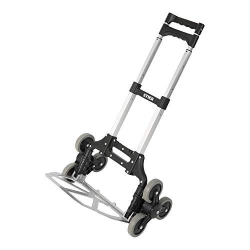 STIER Aluminium Sackkarre Treppensteiger, Tragkraft 70kg, Sackkarre klappbar, Griff Höhenverstellbar, Ladefläche mit Antirutsch-Profil, Vollgummi-Bereifung, Treppensackkarre