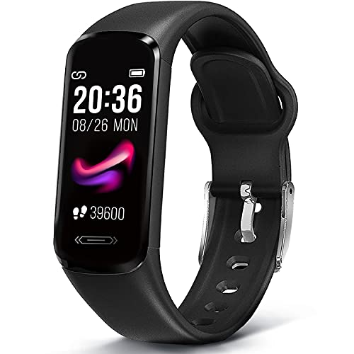 MorePro Slim Fitness Tracker with 6 Sport Modes, Body Temperature DIY Screen Smart Watch with Heart Rate Blood Pressure Sleep Monitor, IP68 Waterproof Pedometer for Women Kids