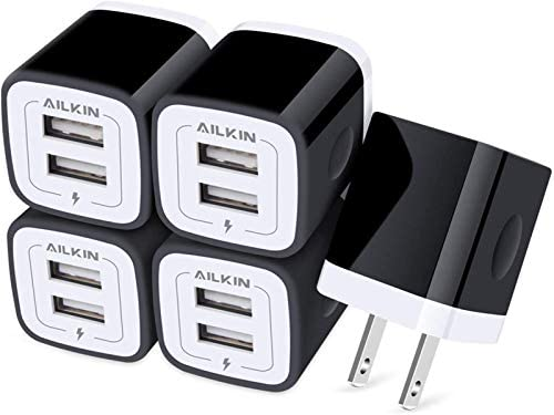 AILKIN USB Wall Plug 5Pack 2Port Fast Charging Outlet AC Power Charger Adapter Block Cube for product image