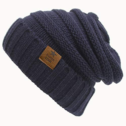 Winter caps lady warm Winter Hat For Women Girl 'S Hat Knitted Beanies Cap Hat Thick Women'S Skullies Beanies-Navy
