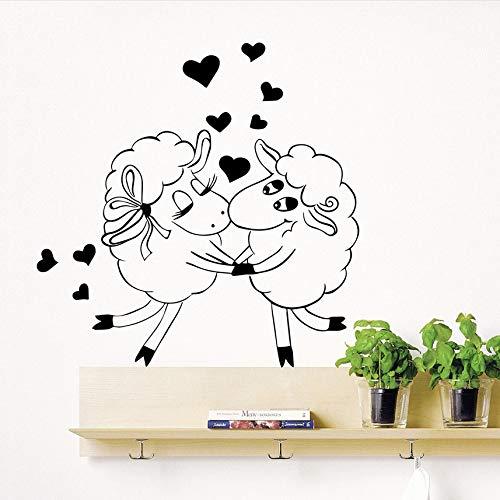 Finloveg Schafe Tier Liebe Kuss Wandkunst Aufkleber Kinder Schlafzimmer Selbstklebende Vinyl Wandtattoo Herzen Kinderzimmer Dekorieren Aufkleber 56X56 Cm