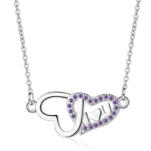 BJGCWY Purple 925 Sterling Silver Clavicle Chain Literary Temperament Personality Female Necklace