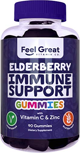 Elderberry Gummies by Feel Great 365 (90 Gummies) for Adult & Kids with Immune Support* | Gluten Free Plant & Pectin Based Formula with Vitamin C and Zinc | Sambucus Nigra Supplement