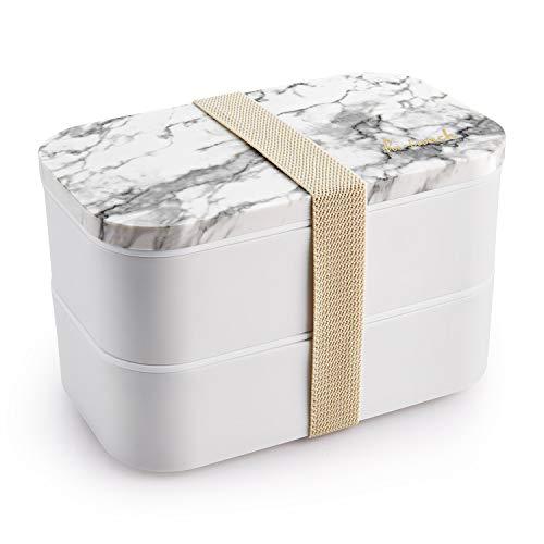 Thousanday Recipiente Hermético Bento - Fiambrera Lunch Box con 2 Compartimentos y Cubiertos - Recipiente para Alimentos Lunch & Go 1.6L, Polipropileno, Mármol Gris