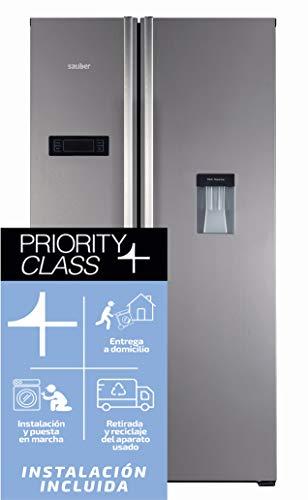 Sauber - Frigorífico Americano DISPENSADOR - SA177ID Tecnología NOFROST - Eficiencia energética: A++ - Acero inoxidable