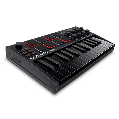 AKAI Professional MPK Mini MK3 Black - Teclado Controlador MIDI USB de 25 Teclas con 8 Drum Pads, 8 Perillas y Software de Producción Musical Incluido, Negro