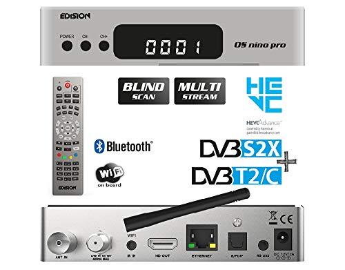 EDISION OS NINO PRO Full HD Linux E2 Combo-Receiver H.265/HEVC (1x DVB-S2X, 1x DVB-T2/DVB-C, Multistream, Blind Scan, WLAN onboard, Bluetooth onboard, 2X USB, HDMI, LAN, Linux, Kartenleser) (Silber)